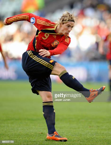Fernando Torres of Spain in action during the FIFA Confederations Cup match between Spain and Iraq at Free State Stadium on June 17 2009 in...