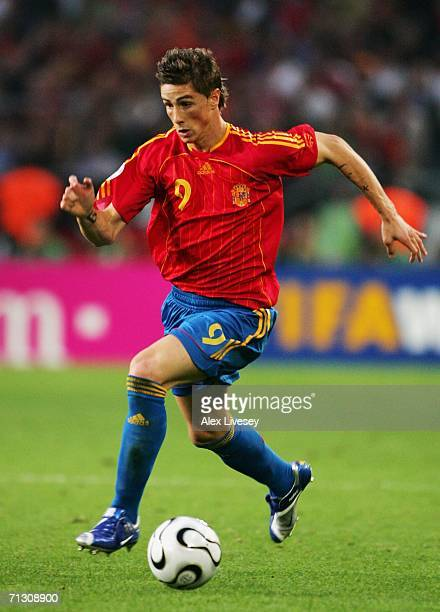 Fernando Torres of Spain in action during the FIFA World Cup Germany 2006 Round of 16 match between Spain and France played at the Stadium Hanover on...