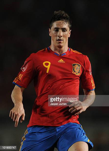 Fernando Torres of Spain in action during the International Friendly match between Spain and Poland at the Estadio Nueva Condomina on June 8 2010 in...