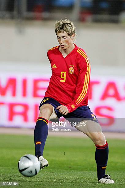 Fernando Torres of Spain in action during the World Cup Qualifier between Spain v San Marino held at the Estadio Juan Rojas on February 9 2005 in...