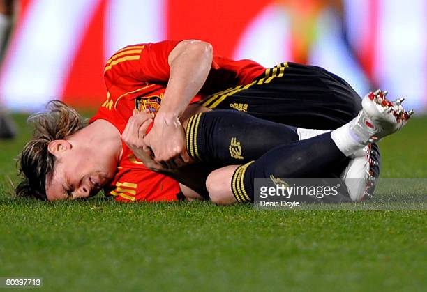 Fernando Torres of Spain lies injured during the friendly International match between Spain and Italy at the Martinez Valero stadium on March 26 2008...