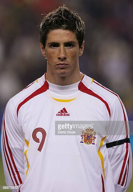 Fernando Torres of Spain lines up before an International friendly game between Spain and Ivory Coast at the Nuevo Sorilla stadium on March 1 2006 in...