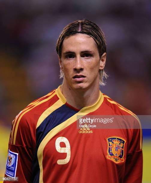 Fernando Torres of Spain linesup before the Group 5 FIFA2010 World Cup Qualifier match between Spain and Belgium at the Riazor stadium on September 5...