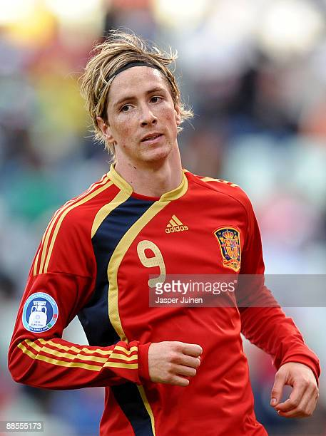 Fernando Torres of Spain looks on during the FIFA Confederations Cup match between Spain and Iraq at Free State Stadium on June 17 2009 in...