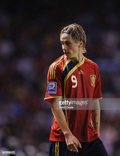 Fernando Torres of Spain looks on during the Group 5 FIFA2010 World Cup Qualifier match between Spain and Belgium at the Riazor stadium on September...