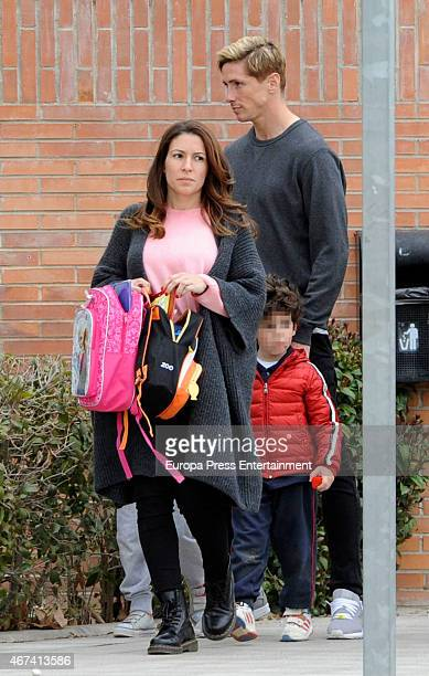 Fernando Torres Olalla Dominguez and their son Leo Torres are seen on March 20 2015 in Madrid Spain