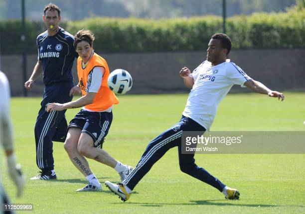 Fernando Torres Ryan Bertrand of Chelsea during a training session at the Cobham training ground on April 19 2011 in Cobham England