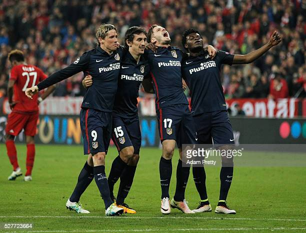 Fernando Torres Stefan Savic Saul Niguez and Thomas Partey of Atletico Madrid celebrate after the UEFA Champions League semi final second leg match...