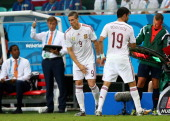 Fernando Torres substitutes Diego Costa of Spain during the 2014 FIFA World Cup Brazil Group B match between Spain and Netherlands at Arena Fonte...