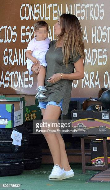 Fernando Torres's wife Olalla Dominguez and his daugther Elsa Torres are seen on September 20 2016 in Madrid Spain