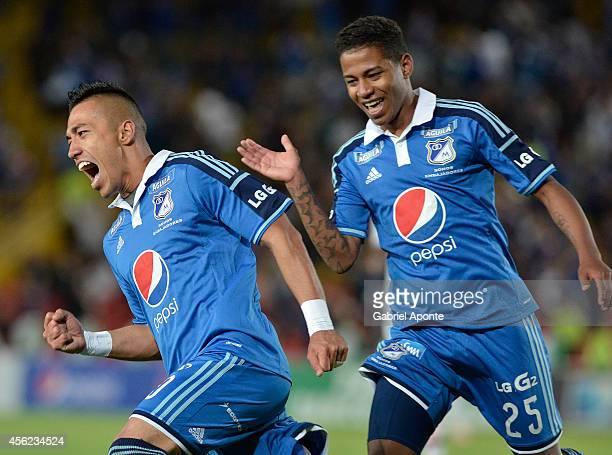 Fernando Uribe of Millonarios celebrates a goal during a match between Millonarios and Fortaleza as part of Liga Postobon 2014 at Nemesio Camacho El...
