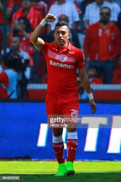 Fernando Uribe of Toluca celebrates after scoring the first goal of his team during the 6th round match between Toluca and Veracruz as part of the...