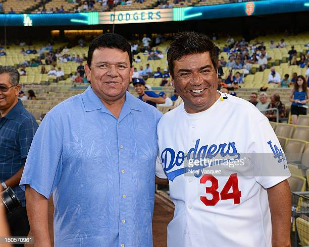 Fernando Valenzuela and George Lopez are sighted at a Los Angeles Dodger vs San Franscico Giants game at Dodger Stadium on August 21 2012 in Los...