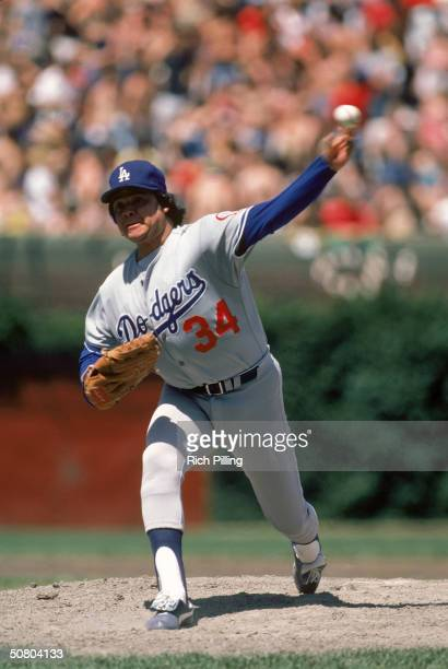 Fernando Valenzuela of the Los Angeles Dodgers pitches during a game against the Chicago Cubs at Wrigley Field in Chicago Illinois Valenzuela pitched...