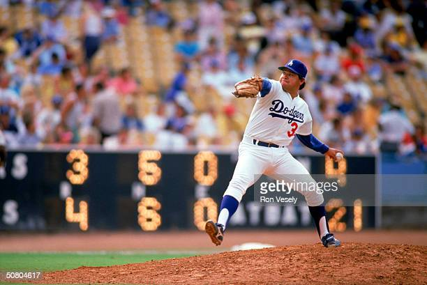 Fernando Valenzuela of the Los Angeles Dodgers pitches during a game at Dodger Stadium in Los Angeles California Valenzuela played for the Dodgers...