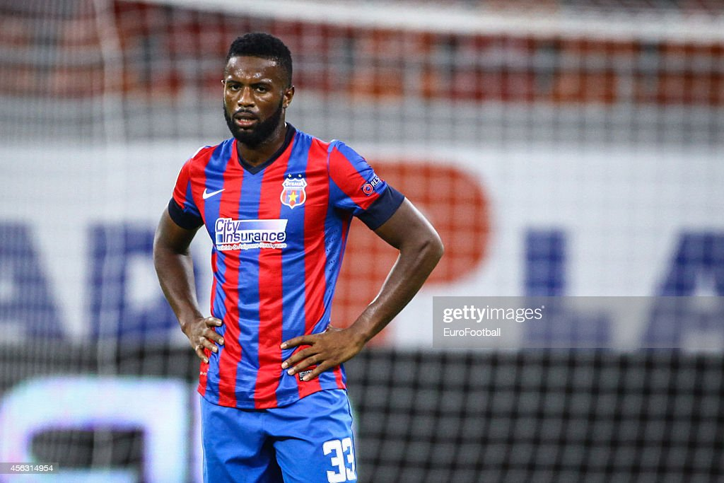 Fernando Varela of Steaua Bucuresti in action during the UEFA Europa League Group J match between FC Steaua Bucuresti and Aalborg BK on September 18, 2014 in Bucharest,Romania.