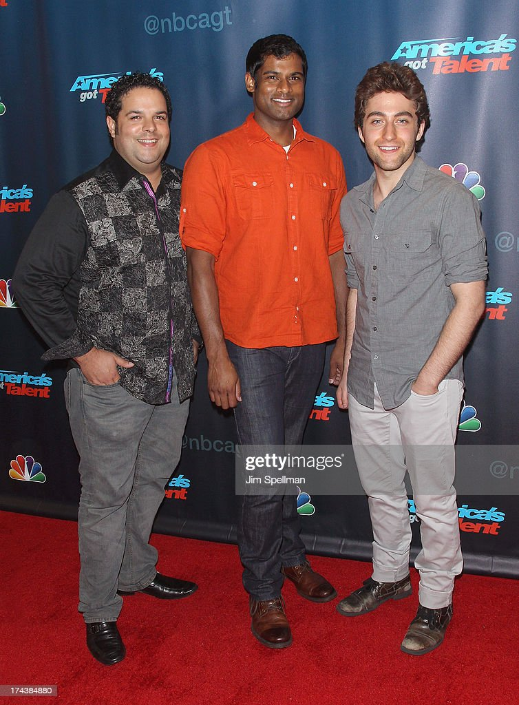 Fernando Varela, Sean Panikkar and Josh Page of Forte attend 'Americas Got Talent' Season 8 Post-Show Red Carpet Event at Radio City Music Hall on July 24, 2013 in New York City.