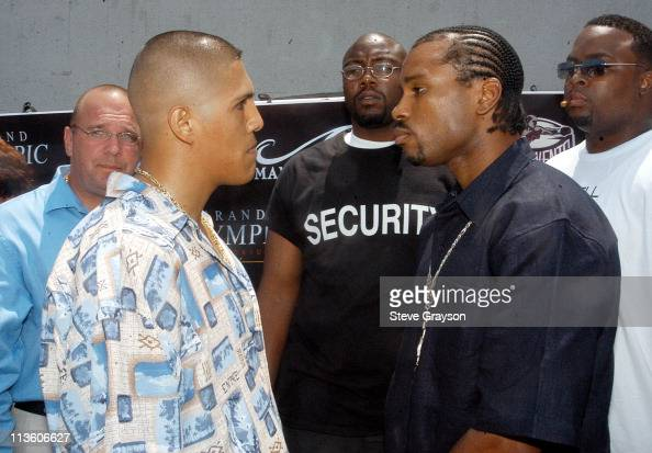 Fernando Vargas and Fitz Vanderpool during Fernando VargasFitz Vanderpool PreFight Press Conference at The Grand Olympic in Los Angeles California...