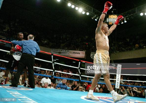 Fernando Vargas celebrates after winning a 10Round Junior Middleweight bout against Fitz Vanderpool at the Grand Olympic Auditorium in Los Angeles CA...