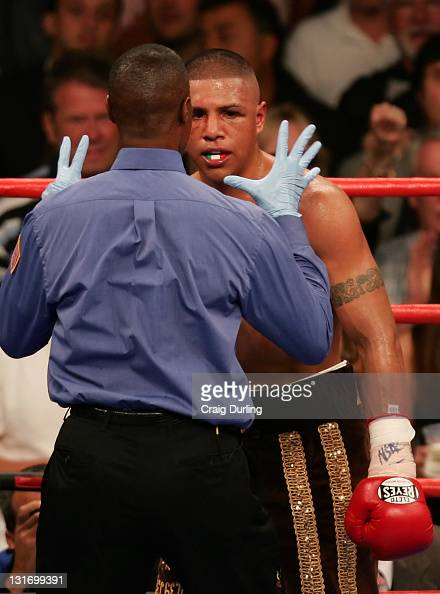 Fernando Vargas checked by the offical during his rematch with Shane Mosley at the MGM Grand Garden Arena in Las Vegas Nevada on July 15 2006
