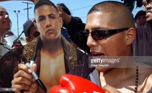 Fernando Vargas during Fernando VargasFitz Vanderpool PreFight WeighIn at The Grand Olympic in Los Angeles California United States