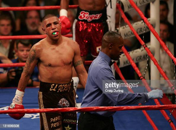 Fernando Vargas in action during their rematch at the MGM Grand Garden Arena in Las Vegas Nevada on July 15 2006