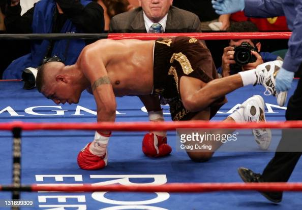 Fernando Vargas is knocked down during his rematch with Shane Mosley at the MGM Grand Garden Arena in Las Vegas Nevada on July 15 2006