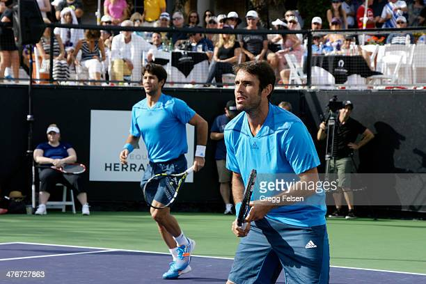 Fernando Verdasco and David Marrero attends the 10th Anniversary Desert Smash at La Quinta Resort and Club on March 4 2014 in La Quinta California