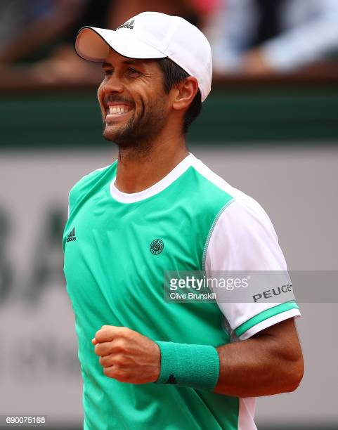 Fernando Verdasco of Spain ceebrates winning the first round match against Alexander Zverev of Germany on day three of the 2017 French Open at Roland...