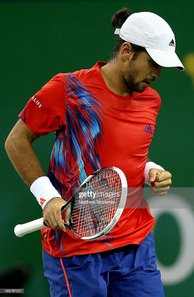 Fernando Verdasco of Spain celebrates a point against Juan Monaco of Argentina during the Shanghai Rolex Masters at the Qi Zhong Tennis Center on October 9, 2012 in Shanghai, China.
