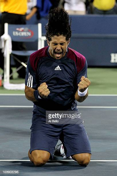 Fernando Verdasco of Spain celebrates after he won his men's singles match against David Ferrer of Spain on day nine of the 2010 US Open at the USTA...