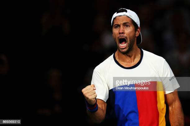 Fernando Verdasco of Spain celebrates after his victory against Dominic Thiem of Austria during Day 4 of the Rolex Paris Masters held at the...