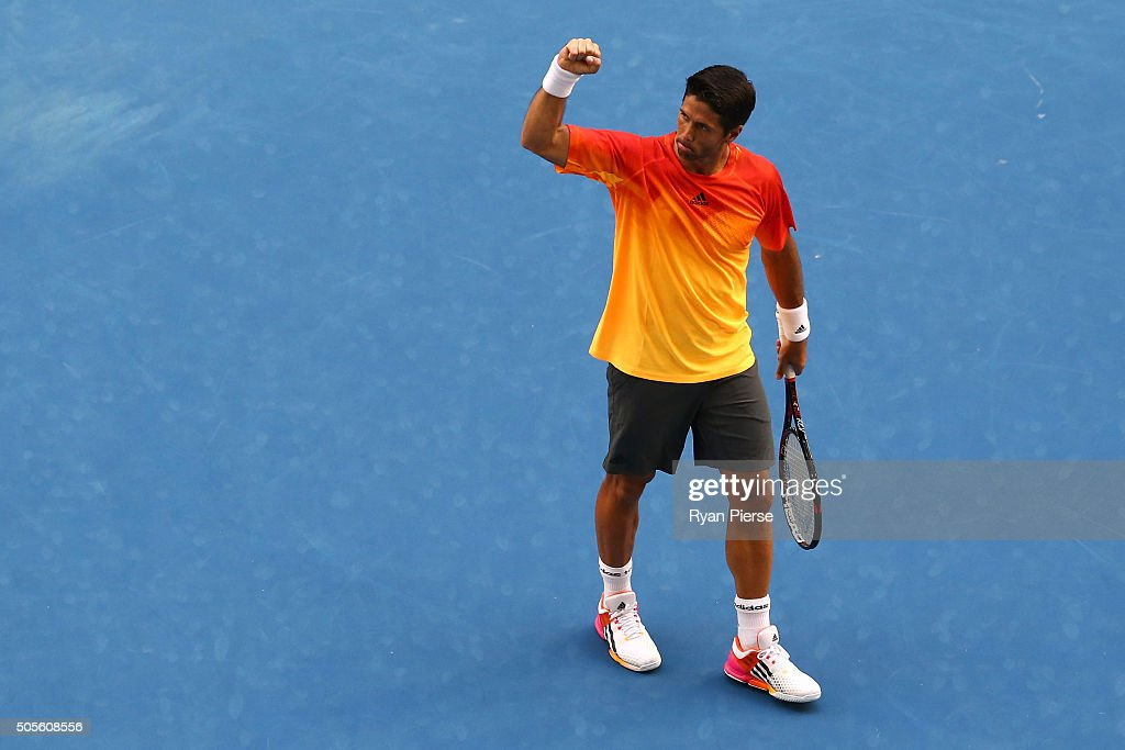 <a gi-track='captionPersonalityLinkClicked' href=/galleries/search?phrase=Fernando+Verdasco&family=editorial&specificpeople=213930 ng-click='$event.stopPropagation()'>Fernando Verdasco</a> of Spain celebrates after winning his first round match against Rafael Nadal of Spain during day two of the 2016 Australian Open at Melbourne Park on January 19, 2016 in Melbourne, Australia.