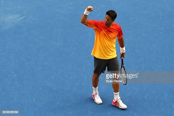 Fernando Verdasco of Spain celebrates after winning his first round match against Rafael Nadal of Spain during day two of the 2016 Australian Open at...