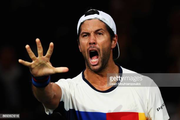 Fernando Verdasco of Spain celebrates his victory against Dominic Thiem of Austria during Day 4 of the Rolex Paris Masters held at the AccorHotels...