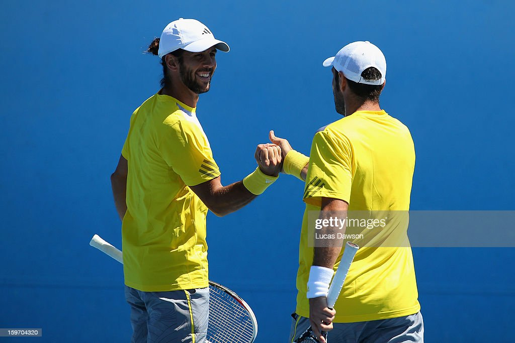 Fernando Verdasco of Spain celebrates in his second round doubles match with David Marrero of Spain against Tomasz Bednarek and Jerzy Janowicz of Poland during day six of the 2013 Australian Open at Melbourne Park on January 19, 2013 in Melbourne, Australia.