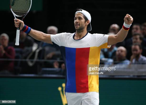 Fernando Verdasco of Spain celebrates winning against Dominic Thiem of Austria in 2 sets on day 4 of the Rolex Paris Masters 2017 a Masters 1000 ATP...