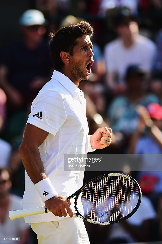 Fernando Verdasco of Spain celebrates winning in his Gentlemens Singles Second Round match against Dominic Thiem of Austria during day three of the Wimbledon Lawn Tennis Championships at the All England Lawn Tennis and Croquet Club on July 1, 2015 in London, England.