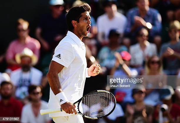 Fernando Verdasco of Spain celebrates winning in his Gentlemens Singles Second Round match against Dominic Thiem of Austria during day three of the...