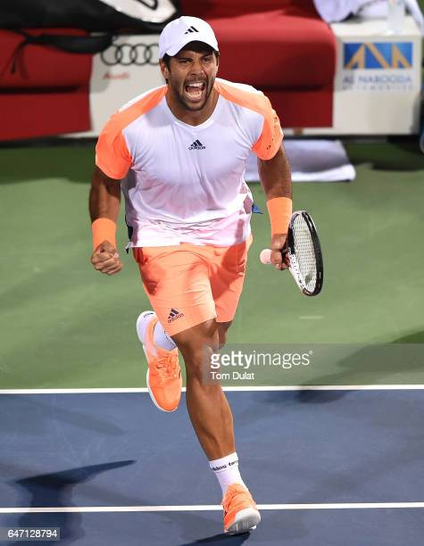 Fernando Verdasco of Spain celebrates winning the quarter final match against Gael Monfils of France on day five of the ATP Dubai Duty Free Tennis...