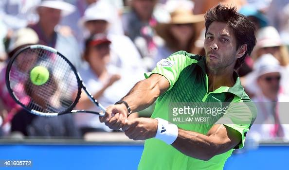 Fernando Verdasco of Spain hits a backhand return before winning the final at the Kooyong Classic tennis event in Melbourne on January 16 2015...