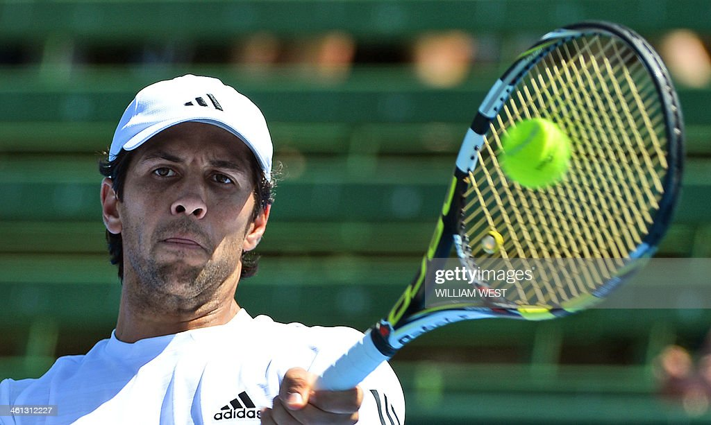 Fernando Verdasco of Spain hits a forehand return in his match with Tomas Berdych of the Czech Republic at the invitational Kooyong Classic tennis...