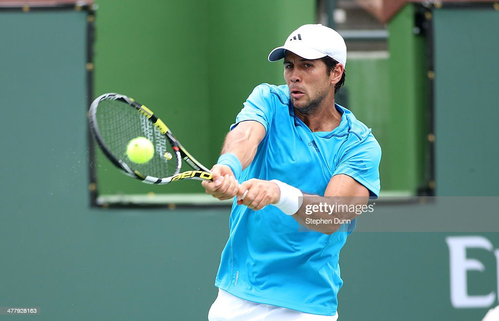 <a gi-track='captionPersonalityLinkClicked' href=/galleries/search?phrase=Fernando+Verdasco&family=editorial&specificpeople=213930 ng-click='$event.stopPropagation()'>Fernando Verdasco</a> of Spain hits a return to Richard Gasquet of France during the BNP Paribas Open at Indian Wells Tennis Garden on March 9, 2014 in Indian Wells, California. (Photo by Stephen Dunn/Getty Images).
