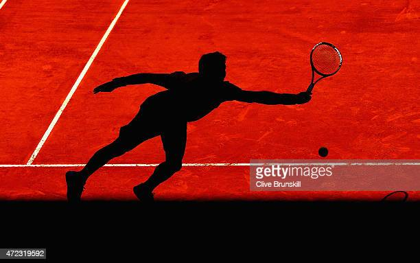 Fernando Verdasco of Spain in action against Marin Cilic of Croatia in their second round match during day five of the Mutua Madrid Open tennis...