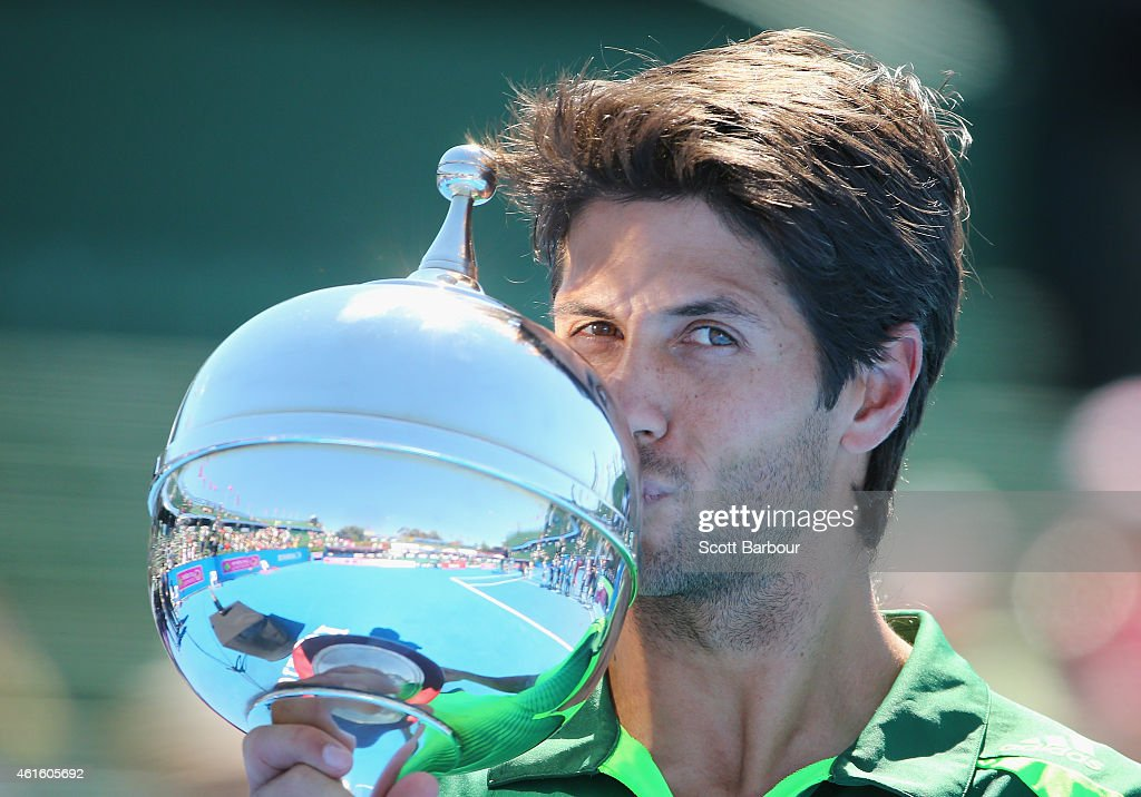 <a gi-track='captionPersonalityLinkClicked' href=/galleries/search?phrase=Fernando+Verdasco&family=editorial&specificpeople=213930 ng-click='$event.stopPropagation()'>Fernando Verdasco</a> of Spain kisses the trophy after defeating Alexandr Dolgopolov of Ukraine in the Championship Match to win the tournament during day four of the Priceline Pharmacy Classic at Kooyong on January 16, 2015 in Melbourne, Australia.