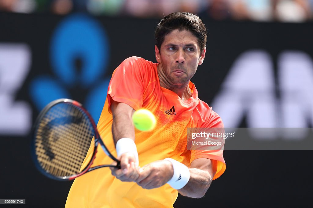 <a gi-track='captionPersonalityLinkClicked' href=/galleries/search?phrase=Fernando+Verdasco&family=editorial&specificpeople=213930 ng-click='$event.stopPropagation()'>Fernando Verdasco</a> of Spain plays a backhand in his first round match against Rafael Nadal of Spain during day two of the 2016 Australian Open at Melbourne Park on January 19, 2016 in Melbourne, Australia.