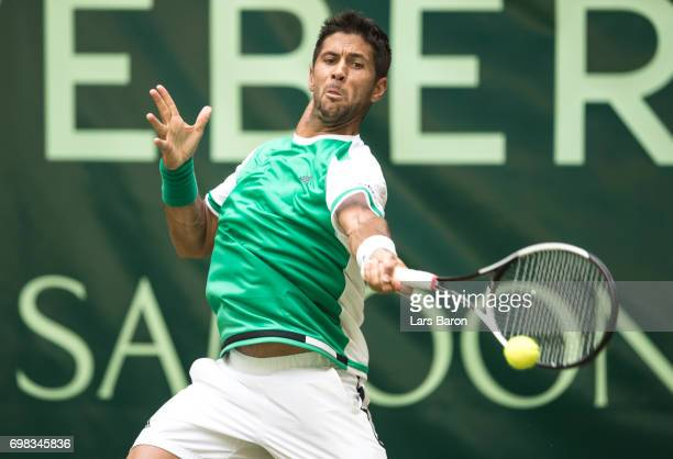 Fernando Verdasco of Spain plays a forehand during his macth against Kei Nishikori of Japan during Day 4 of the Gerry Weber Open 2017 at on June 20...
