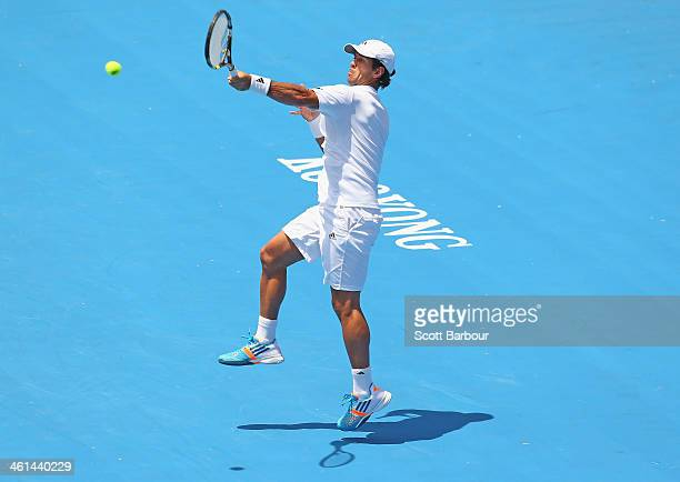 Fernando Verdasco of Spain plays a forehand during his match against Grigor Dimitrov of Bulgaria during day two of the AAMI Classic at Kooyong on...