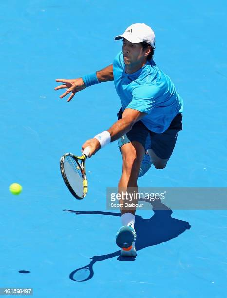 Fernando Verdasco of Spain plays a forehand during his match against Nick Kyrgios of Australia during day three of the AAMI Classic at Kooyong on...