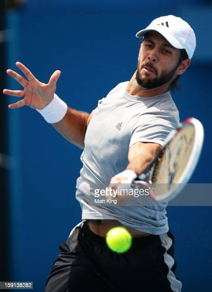 Fernando Verdasco of Spain plays a forehand in his second round match against Denis Istomin of Uzbekistan during day four of the Sydney International...